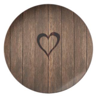Rustic Wood Burned Heart Print Plate