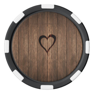 Rustic Wood Burned Heart Print Poker Chips