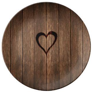 Rustic Wood Burned Heart Print Porcelain Plates