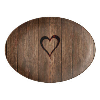 Rustic Wood Burned Heart Print Porcelain Serving Platter
