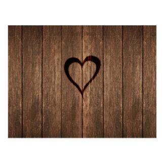 Rustic Wood Burned Heart Print Postcard