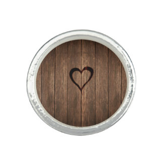 Rustic Wood Burned Heart Print Ring