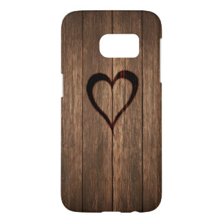 Rustic Wood Burned Heart Print Samsung Galaxy S7 Case