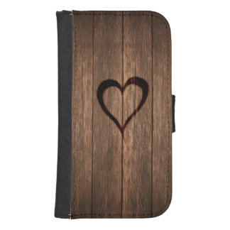 Rustic Wood Burned Heart Print Samsung S4 Wallet Case