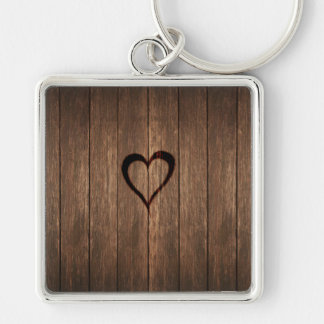 Rustic Wood Burned Heart Print Silver-Colored Square Keychain