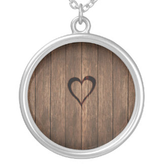 Rustic Wood Burned Heart Print Silver Plated Necklace