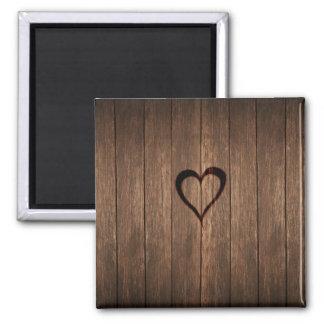 Rustic Wood Burned Heart Print Square Magnet