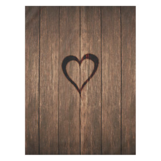 Rustic Wood Burned Heart Print Tablecloth
