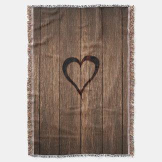 Rustic Wood Burned Heart Print Throw