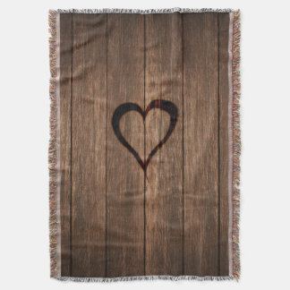 Rustic Wood Burned Heart Print Throw Blanket