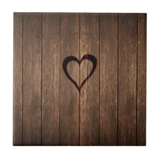 Rustic Wood Burned Heart Print Tiles