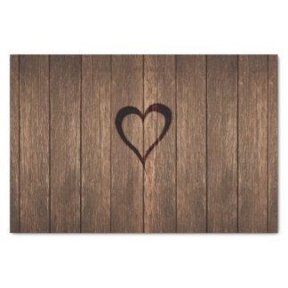 Rustic Wood Burned Heart Print Tissue Paper