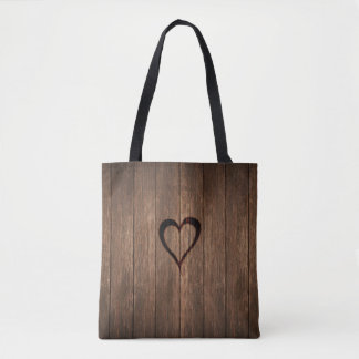 Rustic Wood Burned Heart Print Tote Bag