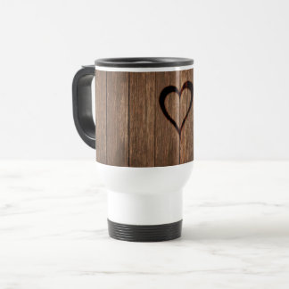 Rustic Wood Burned Heart Print Travel Mug