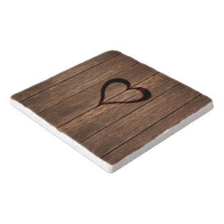 Rustic Wood Burned Heart Print Trivet