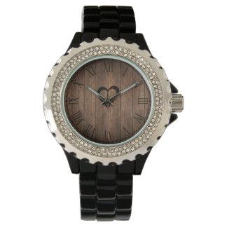 Rustic Wood Burned Heart Print Wrist Watches