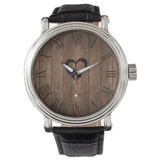 Rustic Wood Burned Heart Print Wristwatch