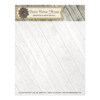Rustic Wood Button Fabric Flower & Shabby Burlap Letterhead