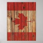 Rustic Wood Canada Flag Poster