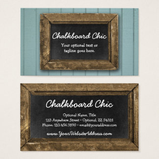 Rustic Wood Chalkboard Frame Shabby Chic Blue Business Card