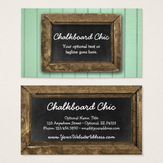 Rustic Wood Chalkboard Frame Shabby Chic Mint Business Card