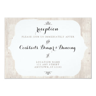 Rustic Wood Chic Reception Invitation Card