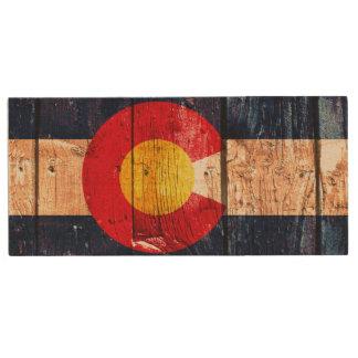 Rustic wood Colorado flag wooden flash drive Wood USB 2.0 Flash Drive
