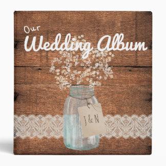 Rustic Wood Country Barn Wedding Mason Jar Binder