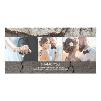 Rustic Wood Country Barn Wedding Thank You Photo Greeting Card