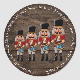 Rustic Wood Country Christmas Nutcracker Classic Round Sticker