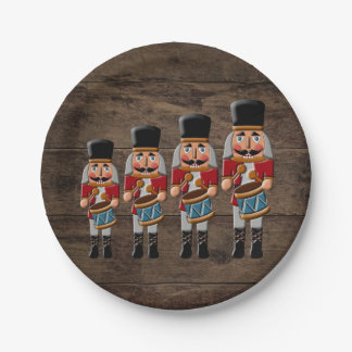 Rustic Wood Country Christmas Nutcracker Paper Plate