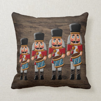 Rustic Wood Country Christmas Nutcracker Throw Pillow