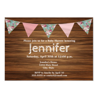Rustic wood country farmhouse girl baby shower card