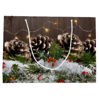 Rustic Wood Country Pines Lights & Snow Christmas Large Gift Bag
