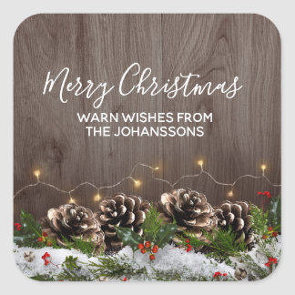 Rustic Wood Country Pines Lights & Snow Christmas Square Sticker