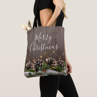 Rustic Wood Country Pines Lights & Snow Christmas Tote Bag