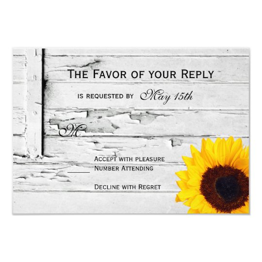 Rustic Wood Country Sunflower Wedding RSVP Cards