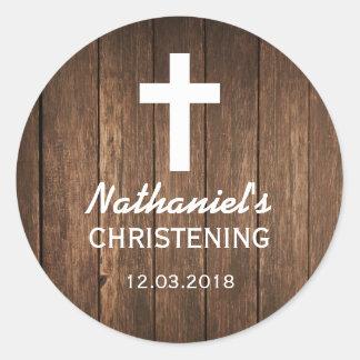 Rustic Wood Cross Baptism Christening Sticker