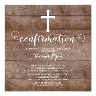 Rustic Wood Cross Confirmation Invitation