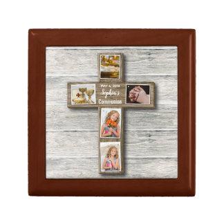Rustic Wood Cross First Communion Photo - Gift Box