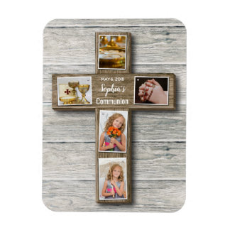 Rustic Wood Cross First Communion Photo - Magnet