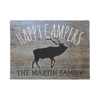 Rustic Wood Cute Camping Elk |  Happy Campers Doormat