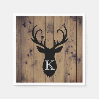Rustic Wood Deer Antlers Monogram Paper Napkin