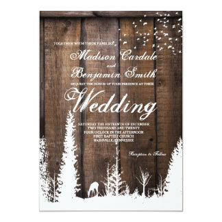 Rustic Wood Deer Pine Tree Wedding Invitations