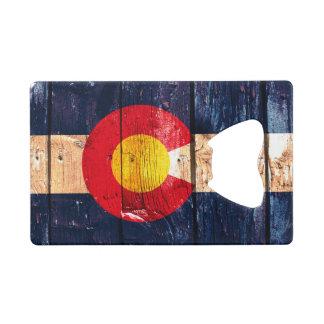 Rustic wood Denver Colorado flag card bottle open Credit Card Bottle Opener