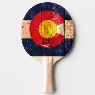 Rustic wood Denver Colorado flag pingpong paddle
