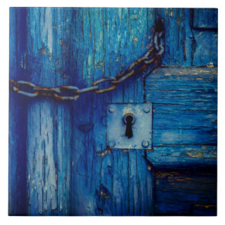 Rustic wood door keyhole and chain tile