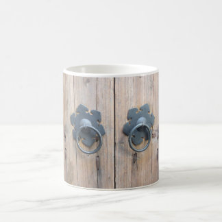 Rustic wood doors and handles coffee mug