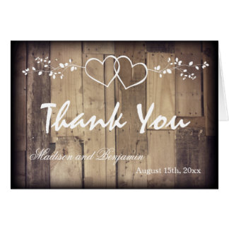 Rustic Wood Double Hearts Wedding Thank You Cards