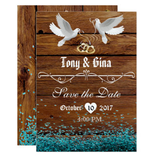 Rustic Wood & Doves Save The Date w/ glitter Card